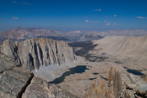 A view of the Guitar Lake basin, from Whitney Crest