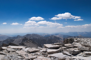 View of the southern Sierra Nevada mountains taken from near the Mt Whitney summit